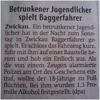Betrunkener Baggerfahrer